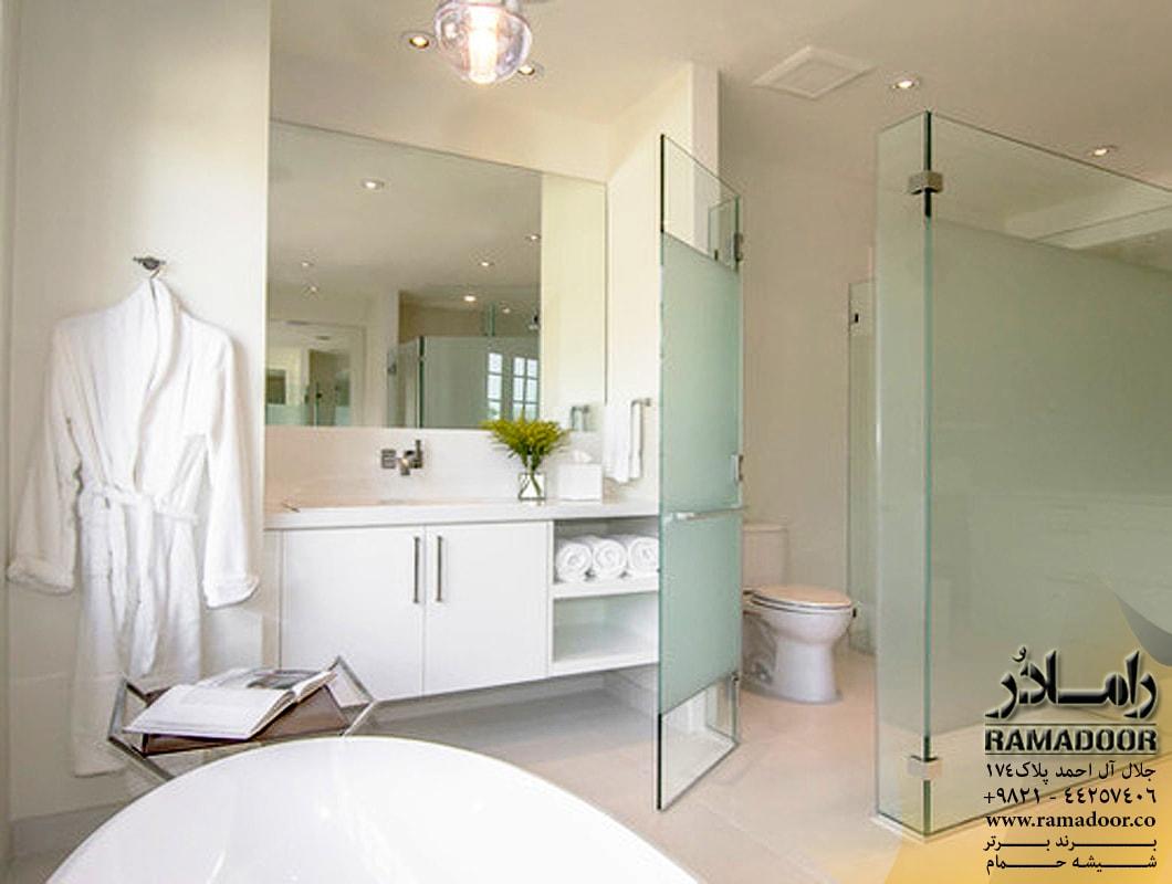 شیشه حمام لولایی با طرح سندبلاست (1)