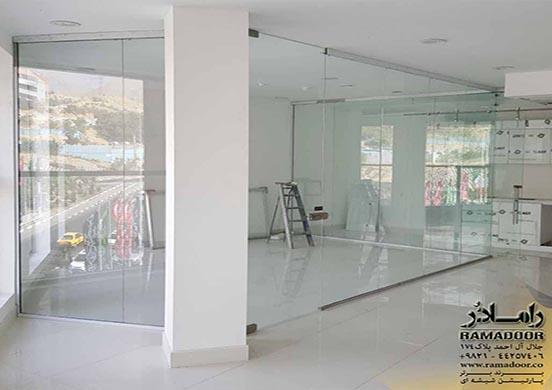 پارتیشن شیشه ای با  طرح سندبلاست(12)