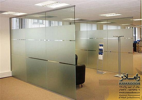 پارتیشن شیشه ای با فریم آلومینیومی(4)
